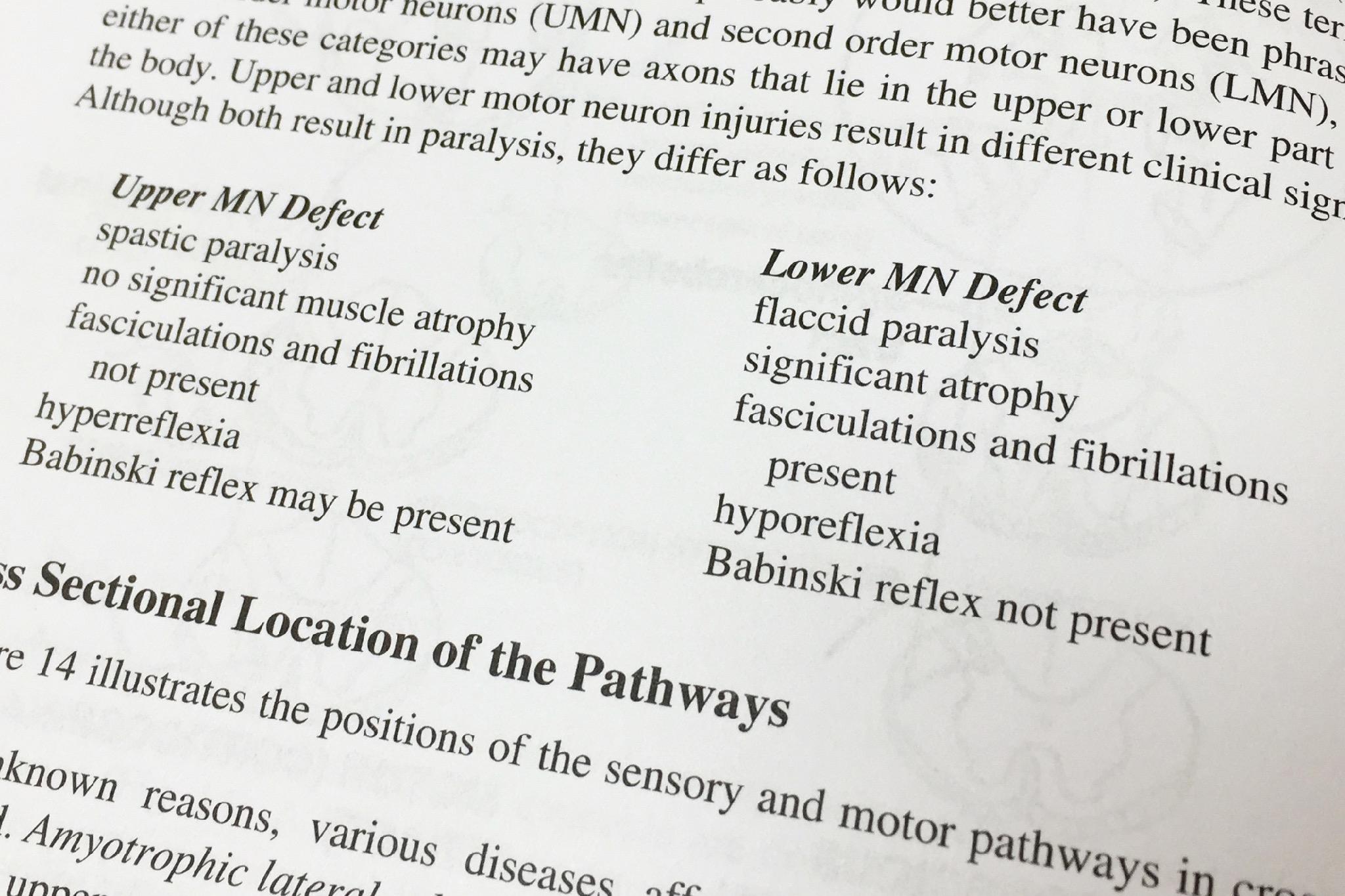 錐体路の麻痺の上位ニューロンか下位ニューロンかによる違い
